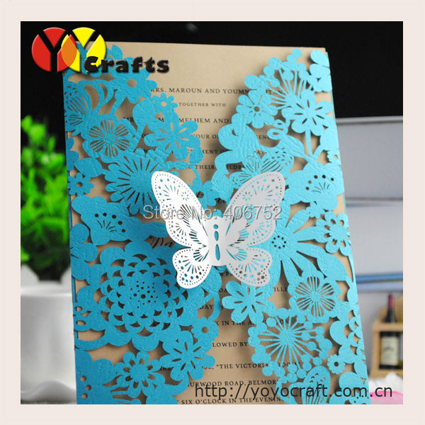 2017 Hot Lace Laser Cut Lake Blue Butterfly Handmade Indian Wedding