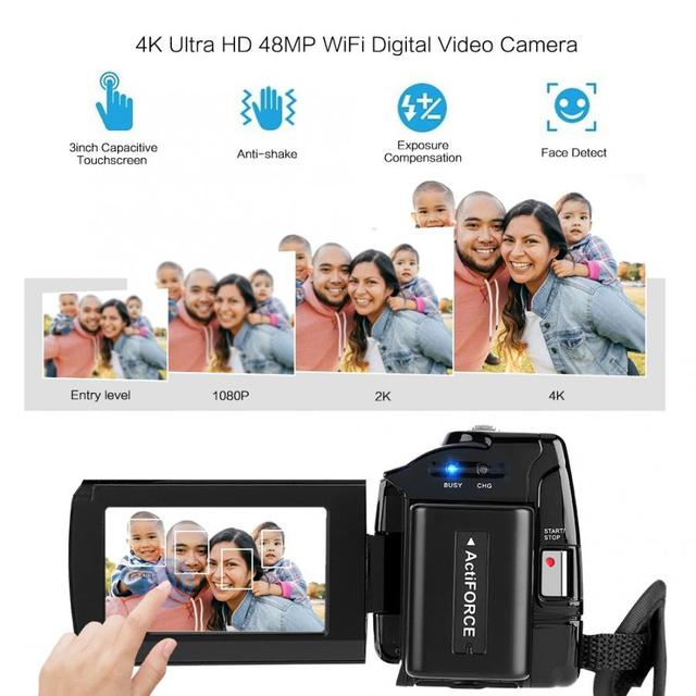 4K 48MP WiFi Digital Video Camera 16X digital zoom Camcorder with 3-inch Touchscreen Wide Angle Lens camera profissional Cam 1