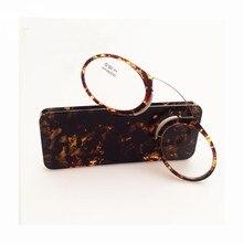 New Clip Nose TR90 Reading Glasses Mini Ultralight SOS Wallet Older Glasses With Box Glass Lens Metal Lesebrille M02