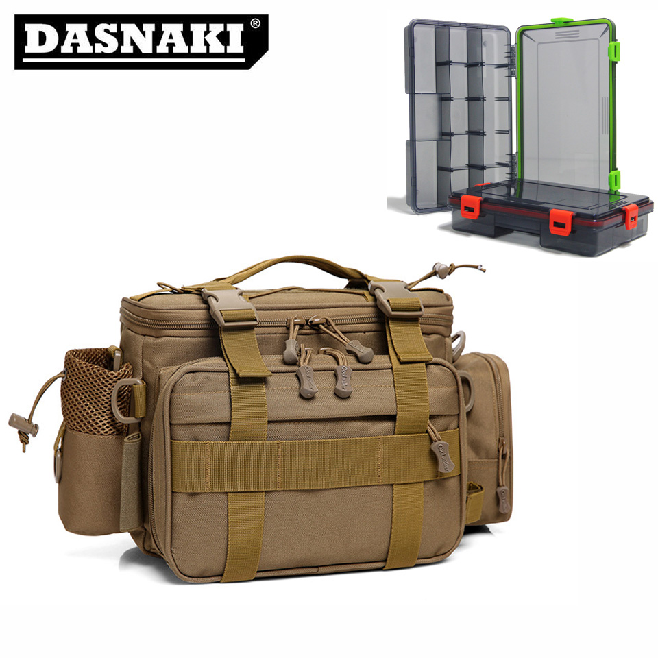 DASNAKI Multi purpose fly fishing trackle bag two plastic boxes Portable fishing lure bag box bolsa