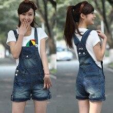 2014 denim suspenders shorts bib pants female loose plus size thin 9 bib pants