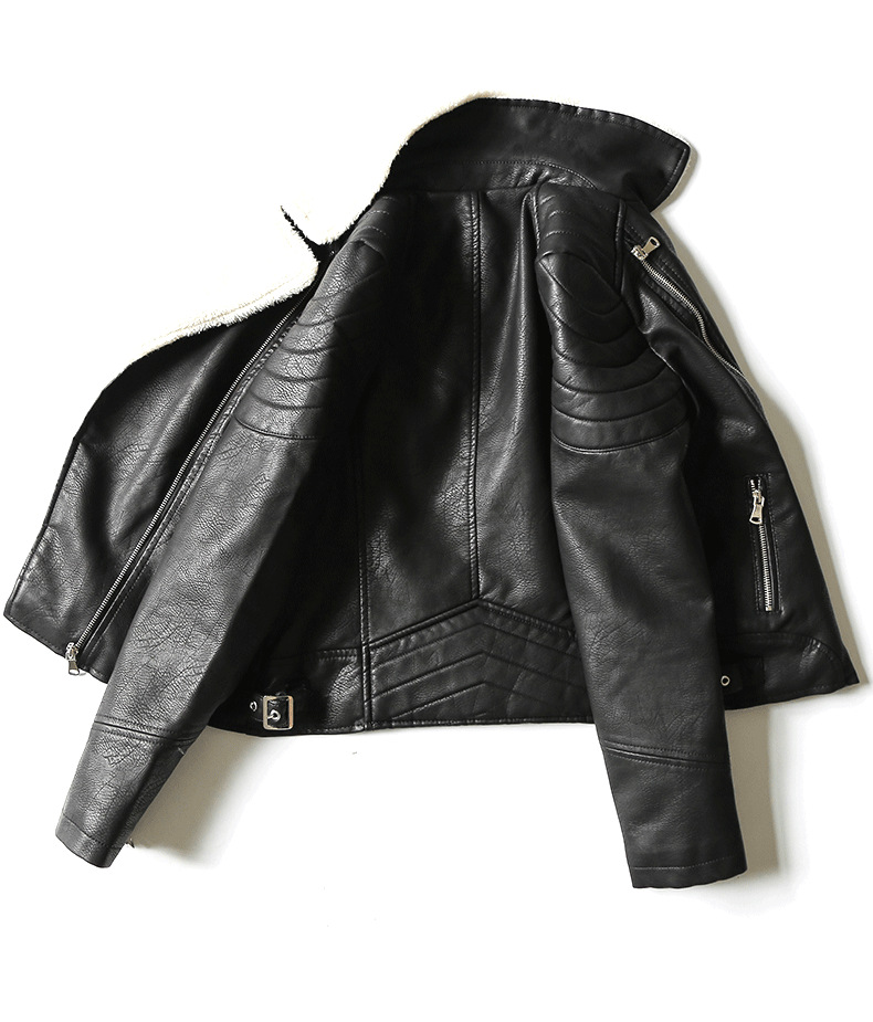 Street Mode Black Marque Cuir Pu Zipper Style Manteau Chaud Faux Lambwool Couture Femme Wq422 Velours De Thikcer En Veste 44wP5U