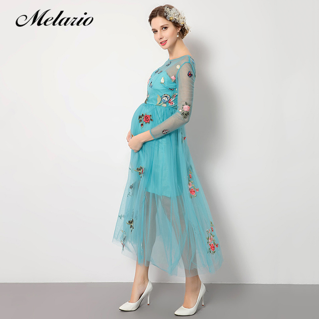 49a07b03634c7 Melario ملابس للحمل الصيف 2019 العلامة التجارية الأميرة اللباس فراشة  التطريز تصميم الأزياء ملابس حريمي الحوامل