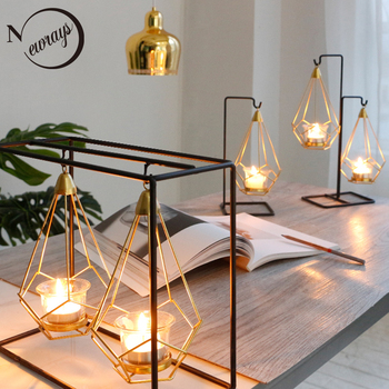 Novelty Nordic golden metal candle holders 6 styles modern simple candles for bedroom holiday living room restaurant washingroom 1