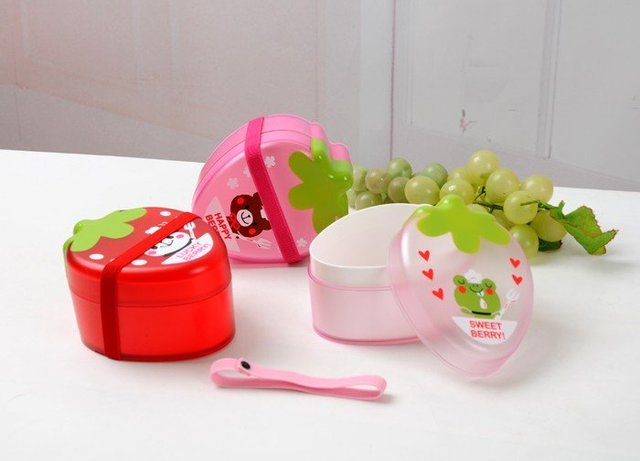 Lovely Strawberry Food Box  Use In Microwave Oven Lunch Container--Christmas Gift Novelty Toy Best Gift 16pcs/Lot Free Shipping
