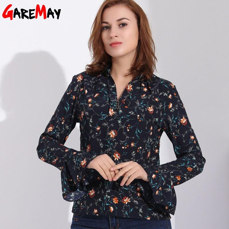 Women Long Sleeve Blouses Shirts Plus Size Feminine Shirt Flower Chiffon Blouse Long Flare Sleeve Chemise Femme Woman Clothes