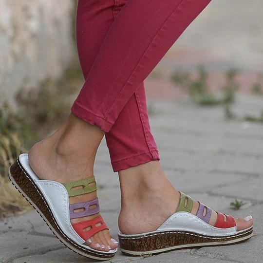 Color Stitching Low Wedge Heel Slippers