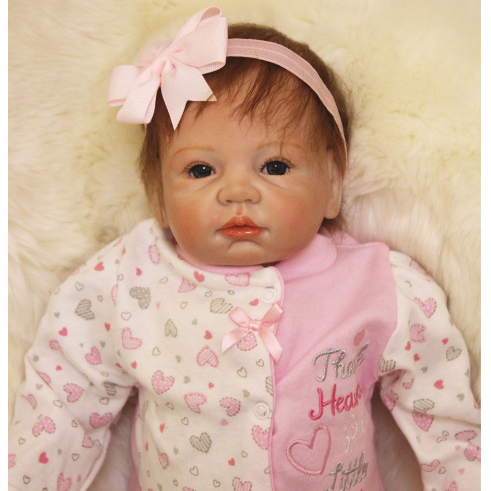 50-55CM Silicone Doll Reborn Baby girl realistic Handmade Cloth Body Reborn Babies pink Toys Baby Growth Partners Best kids Gift partners lp cd