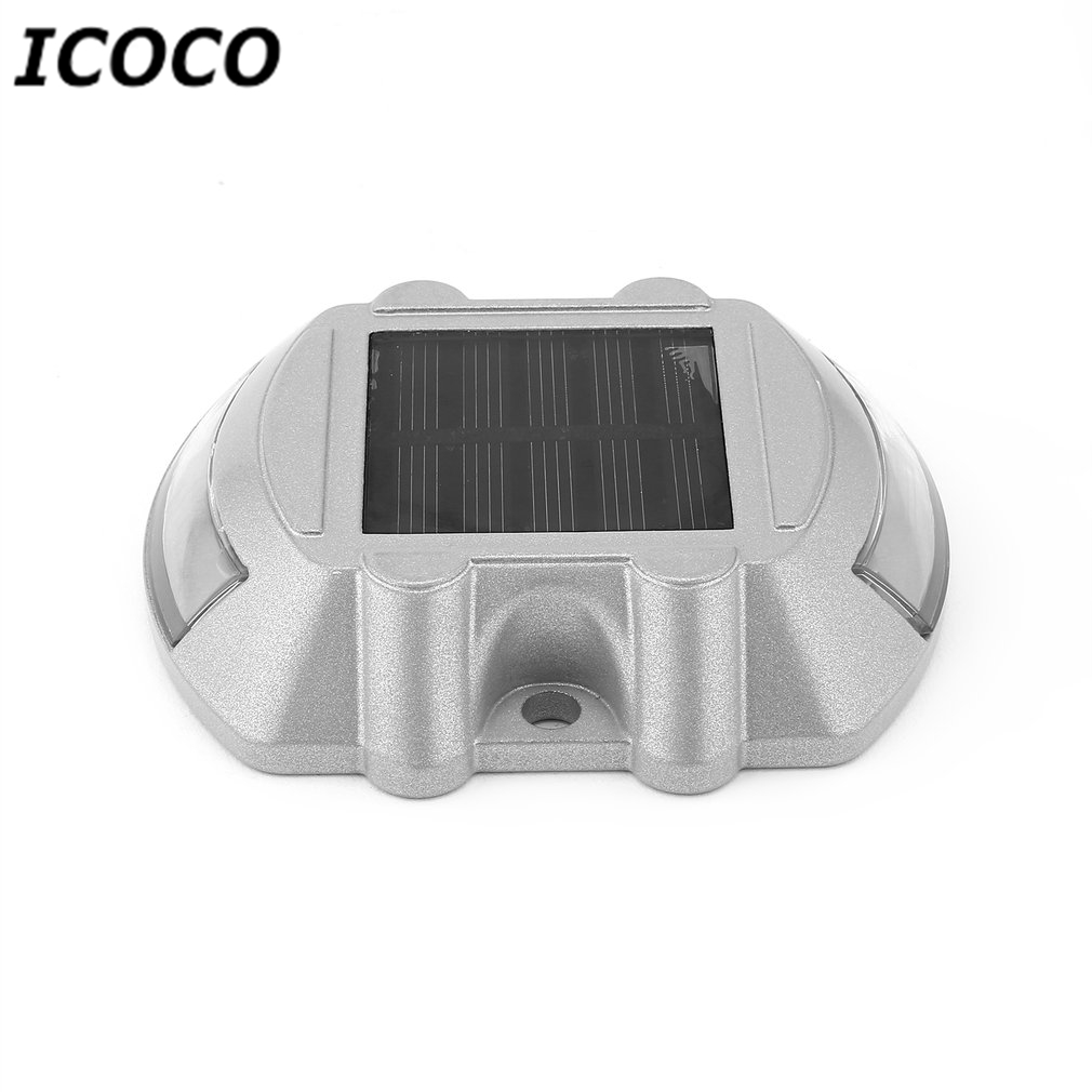 ICOCO Waterproof 6 LEDs Solar Power Spike Light Aluminum Alloy Traffic Signal Light Villa Landscape Drive Lamp For Road Path