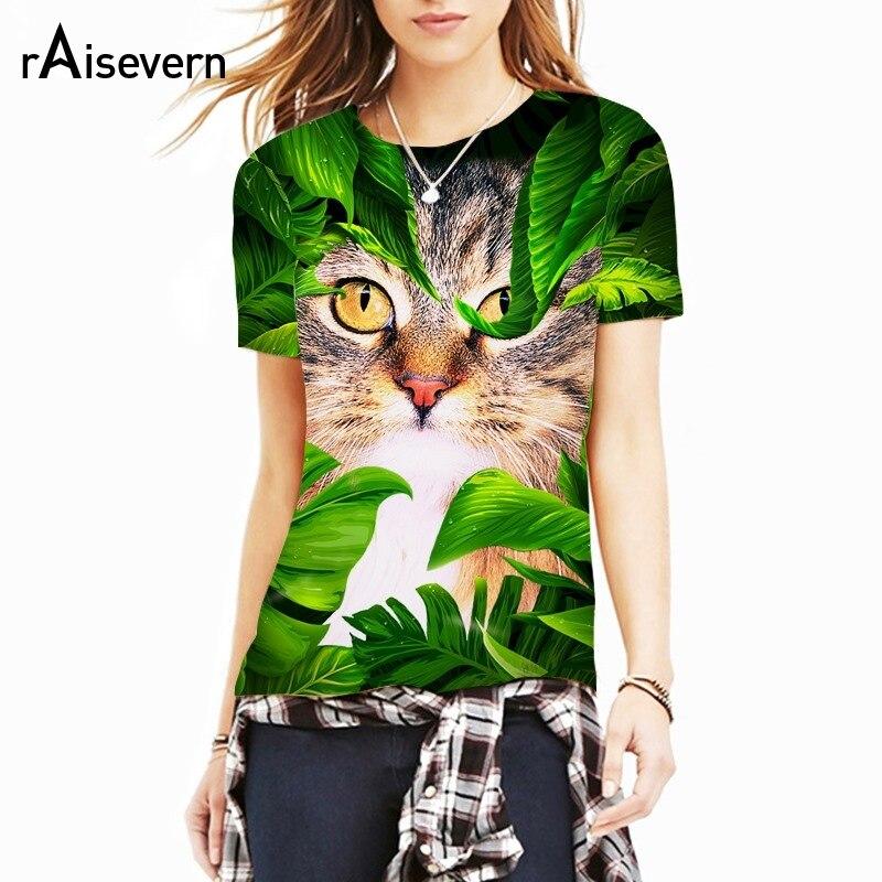 Raisevern Green Leaves Cat 3D Print T-shirt Men Women Unisex Summer T Shirt Breatheable Cloth Tops Tee Dropship