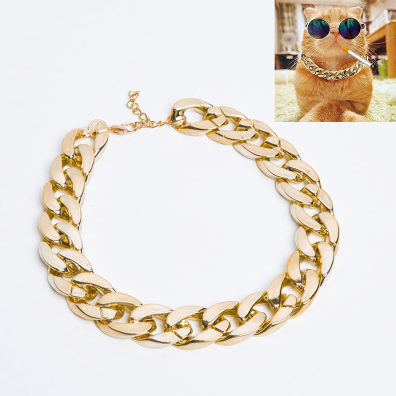 Fashion Pet Cat Accessories Golden Plastic Cat Necklace Adjustable Kitten Collar Necklace For Puppy Small Dogs Cats Lightweight