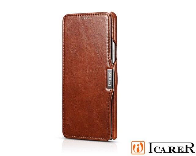 ICarer Оригинальный Старинные Натуральная Кожа Аргументы за Стойки Samsung Galaxy Note 5 Флип Единый телефон Обложка сумки держателя карты