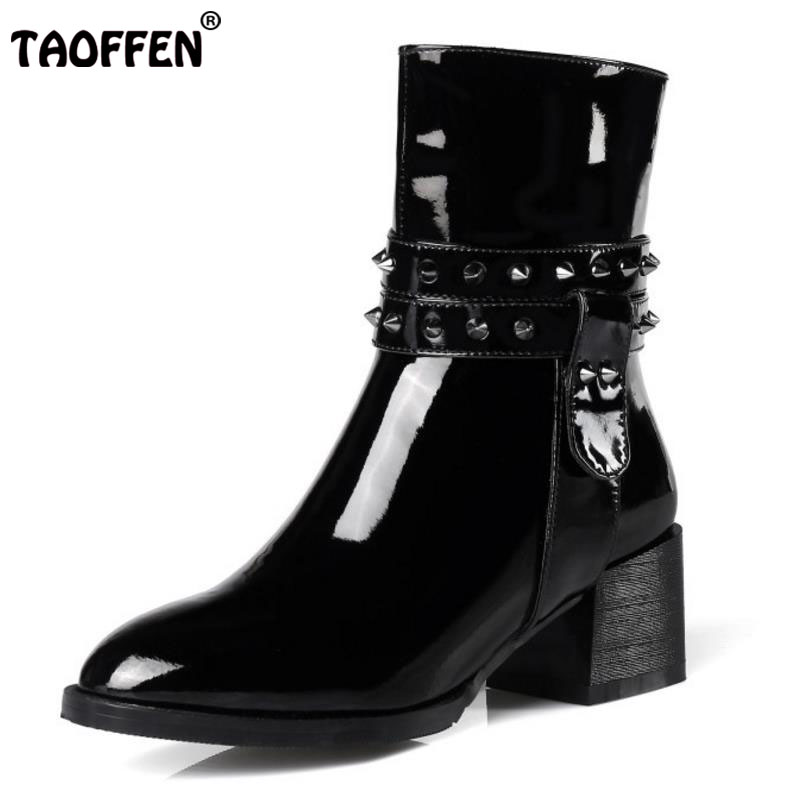 TAOFFEN Size 31-45 Women Real Leather Half Short Boots Rivet Buckle High Heel Boots Warm Fur In Winter Shoes Snow Women Footwear