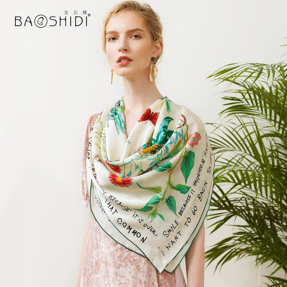 BAOSHIDI 2018 New Arrival 16m m 100 silk satin scarf Fashionable Square Scarves women infinity