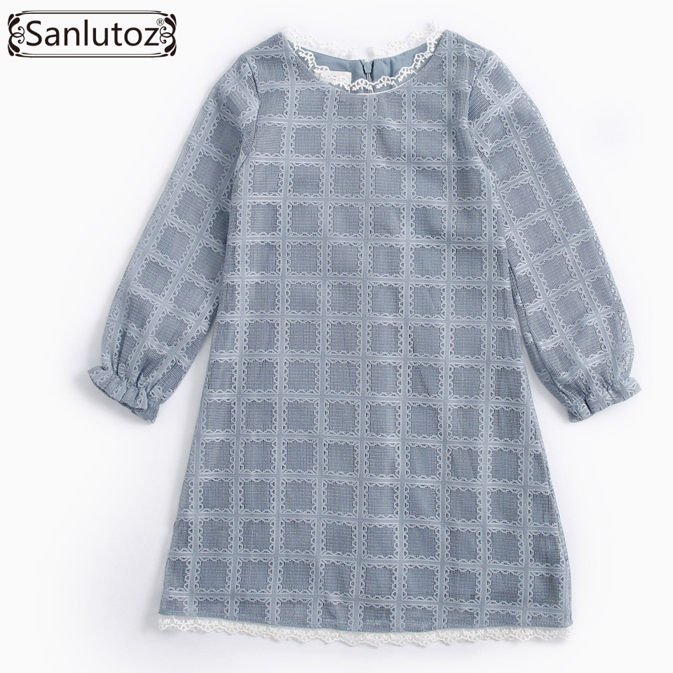 Sanlutoz Lace Girl Dress Princess Kids Clothes Toddler Girls Clothing Long Sleeve Brand 2017 New Wedding Party Autumn Spring fashion brand autumn children girl clothes toddler girl clothing sets cute cat long sleeve tshirt and overalls kid girl clothes