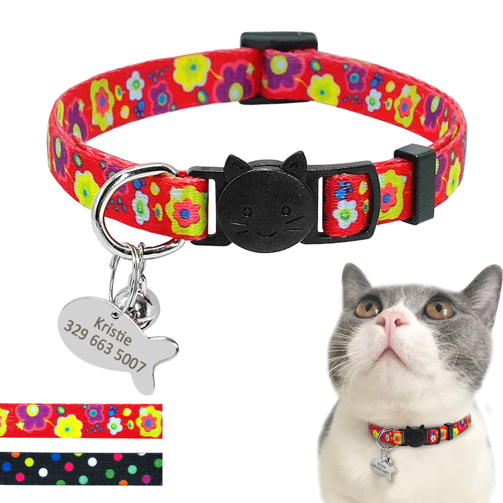 Quick Release Puppy Dog Kitten Cat Bell Collar With Personalized Pet ID Tag Small Cats Dogs Point Flower Collars Name Necklace