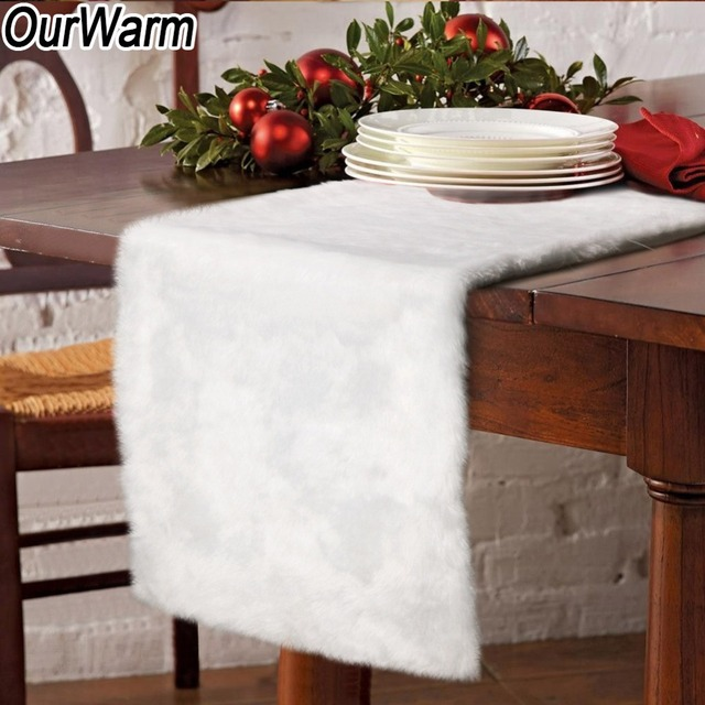 Christmas Table Runner.Us 16 99 40 Off Aliexpress Com Buy Ourwarm White Christmas Table Runner Xmas Table Decoration Accessories Modern Faux Fur Table Cloth For Party