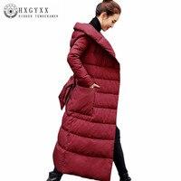 Для женщин зимнее пальто новые высококачественные с капюшоном белая утка Пух куртка Модные длинные пальто для отдыха большой размер толсты