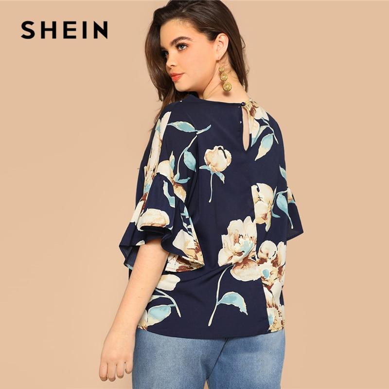 SHEIN Plus Size Navy Flounce Sleeve Flower Print Blouse Women 2019 Spring Round Neck Half Sleeve Highstreet Tops Blouse