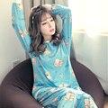 Hot 2017 moda mujer dulce mujer pijamas Casa Ropa Traje de primavera Ropa de Dormir de manga Larga de impresión de Interior Pijamas Pantalones