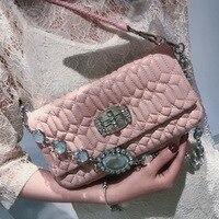 BENVICHED Fashion Luxury Handbags Women Bags Designer Sheepskin Women Shoulder Bags Messenger Bags Diamonds Parts Eveing Bags