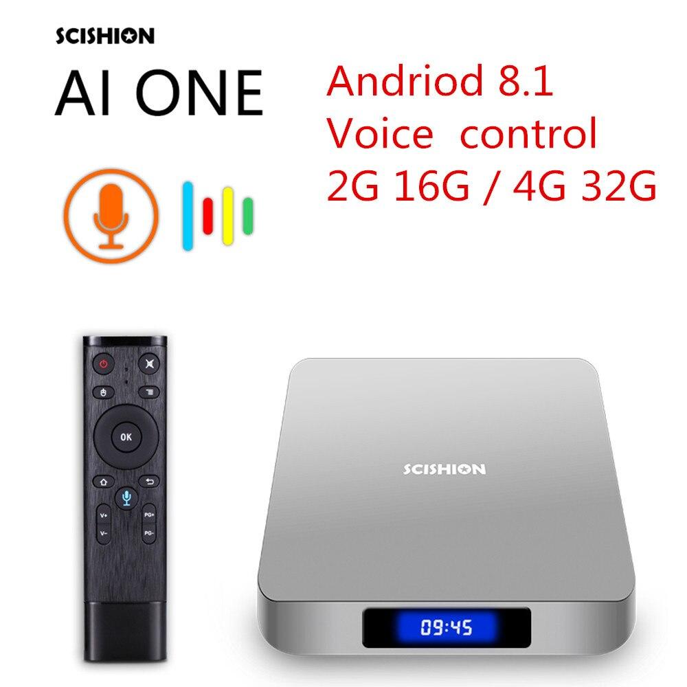 SCISHION AI ONE Android 8.1 Smart TV Box Rockchip 3328 2 GB RAM + 16 GB ROM 2.4G WiFi USB3.0 BT4.0 décodeur avec commande vocale