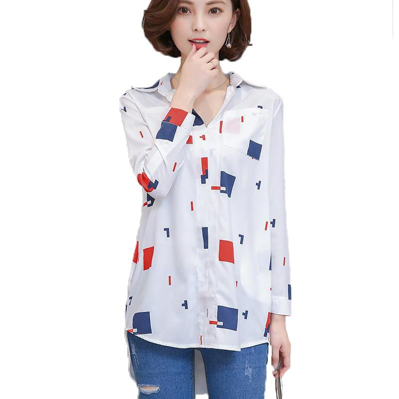 2018 Spring Autumn New Women Blouse Shirt Fashion Character Print Long Casual Ladies Tops White Long Sleeve Shirts Plus Size 4XL