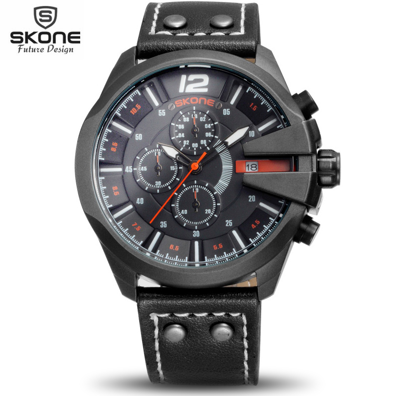 Real Sub Dial Function SKONE Fashion Leather Sports Quartz Watch Man Military Chronograph Wrist Watches Men Army Style 2020 chronograph fashion leather sports quartz watch for man military wrist watches men army style free shipping