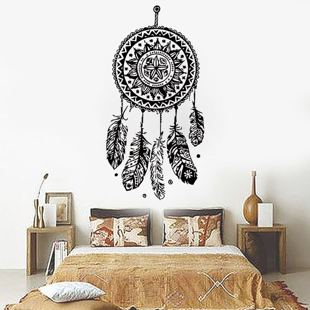 diy non toxic vinyl feathers night symbol indian wall sticker