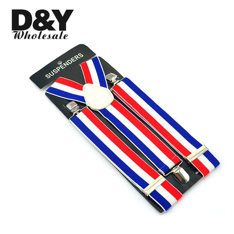 New 3.5cm Wide Mens Unisex Clip-on Braces Elastic Suspender Fashion Blue/White/Red 4 Striped Mix Suspenders - Free shipping