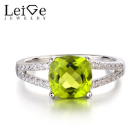 Leige Jewelry Natural Real Peridot Anniversary Rings 925 Silver Cushion Cut Fine Green Gemstone August Birthstone Ring for Women