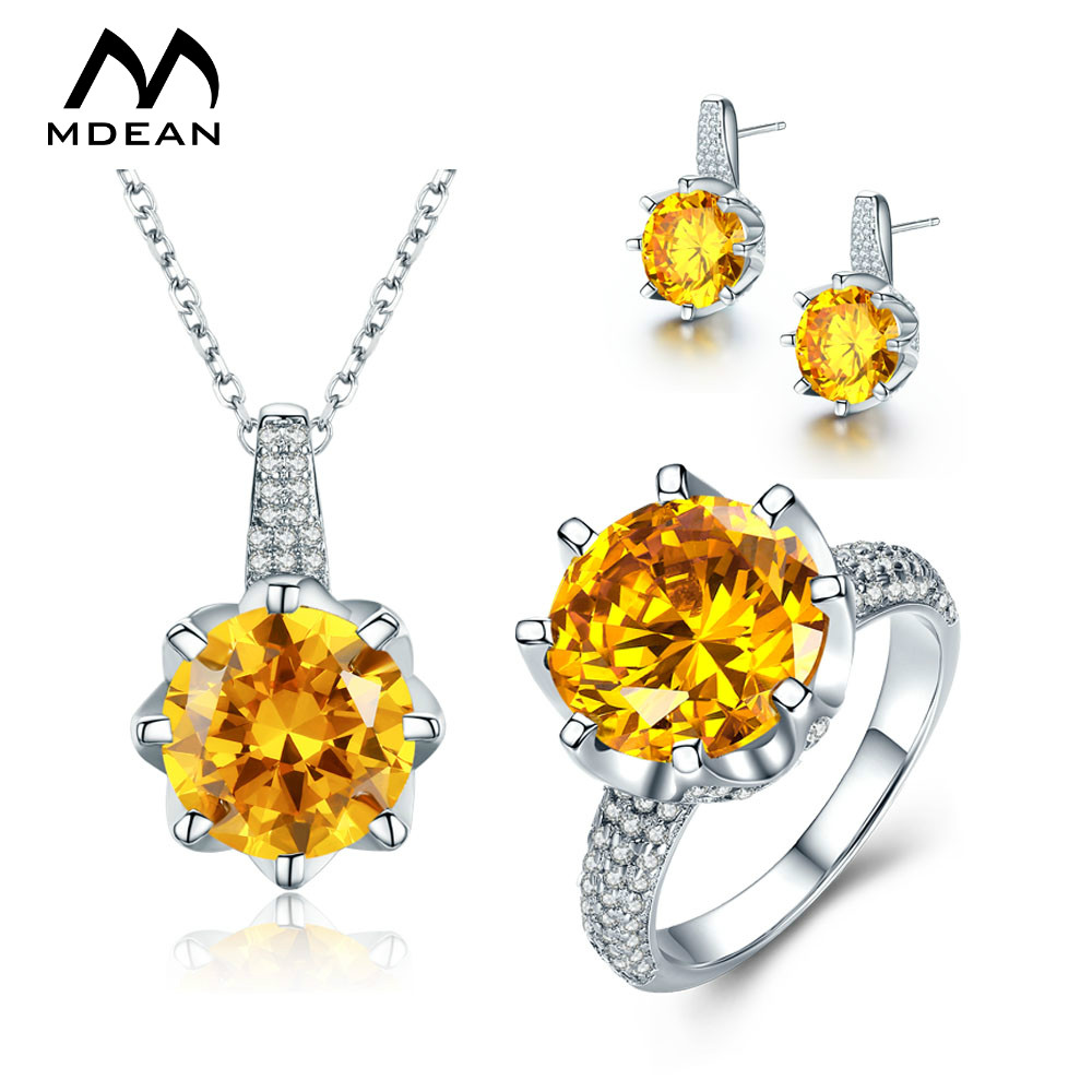 MDEAN White Gold Color Wedding Jewelry Sets Big AAA Yellow Zircon Engagement Rings + Earrings + Necklace For Women Szie6-10