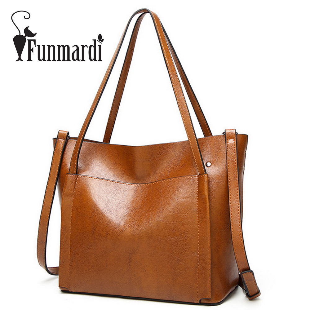 FUNMARDI Luxury Oil wax leather bags New Fashion PU Women's handbag simple Brand design shoulder bag Famous totes bags WLHB1584 miwind 2017 new women bag cow oil wax leather handbags letter v shoulder bags female luxury casual totes simple fashion portable