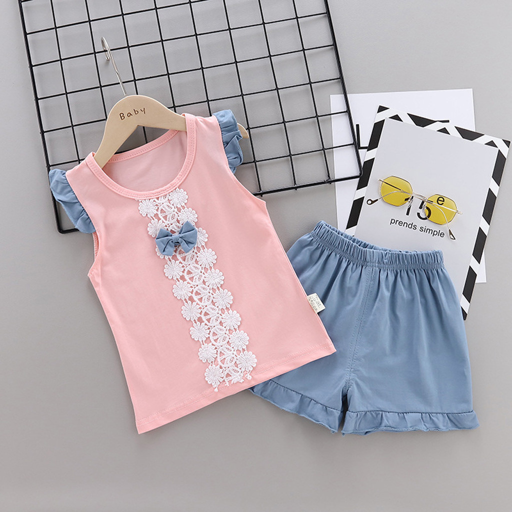 Girls Top and Shorts set 2 pcs Cotton Lace Outfit Kids Summer Set Age 3-12 years