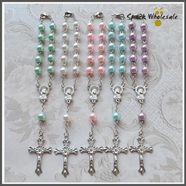 50pcs Lot Catholic Multi Colors Pearl Glass Rosary