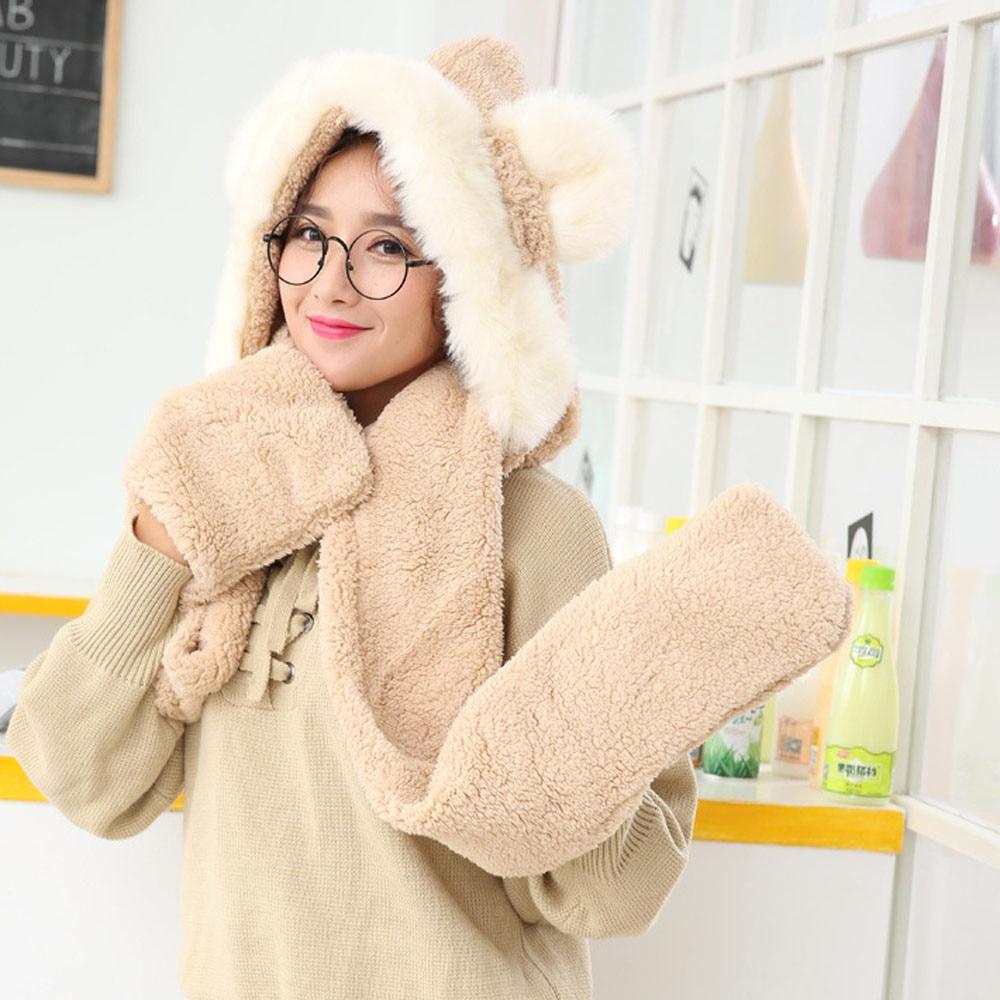 1Pc Women Warm Hoodie Gloves Pocket Earflap Hat Scarf A Cute Gift For Girlfriend