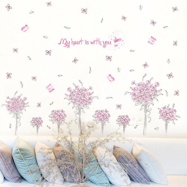 Bon [Fundecor] Pink Flower Wall Stickers Home Decor Living Room Bedroom Kitchen Bathroom  Butterfly Wall