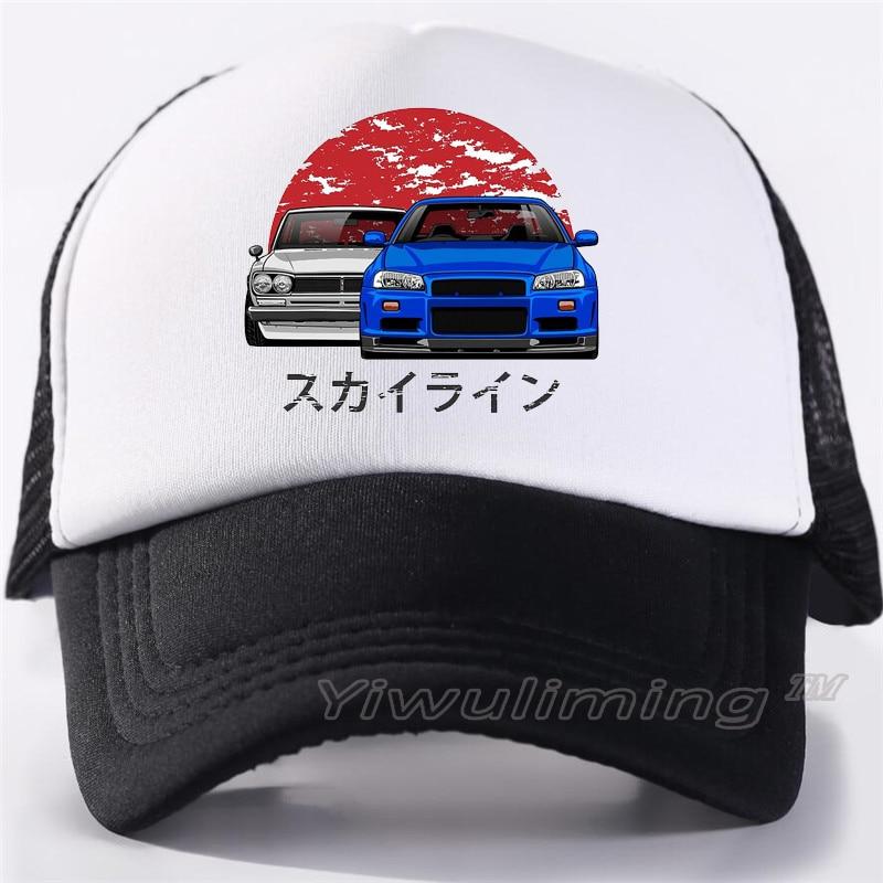 New Summer Trucker Caps Nissan Skyline R34 Cool Summer Black Adult Cool Baseball Mesh Net Trucker Caps Hat For Men Adjustable