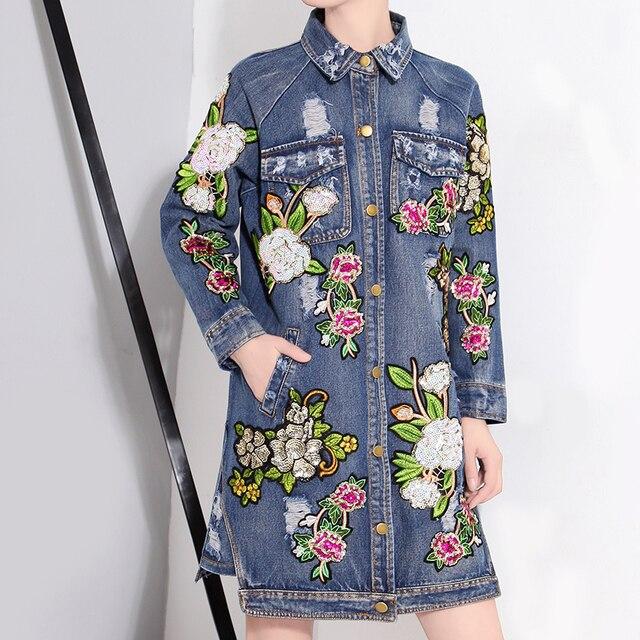 [CHICEVER] Весенние Цветы Блестки Лоскутное Старинные Длинные Джинсовые Пальто Для Женщин Новый Уличная Clothing