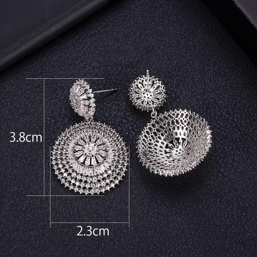 Janeklly à la mode géométrique goutte dangle boucles d'oreilles pour femmes accessoires complet cubique zircone boucles d'oreilles bijoux pendientes mujer moda