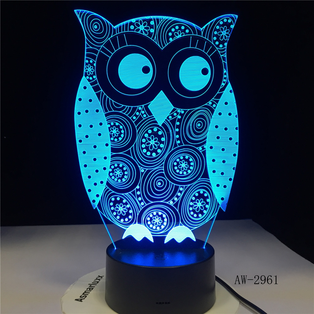 Eye Peeking Owl 3D Night Light 7 Colors Change LED Desk Table Lamp Art Child Bedroom Sleeping Decor Holiday Party Gifts GX-2961