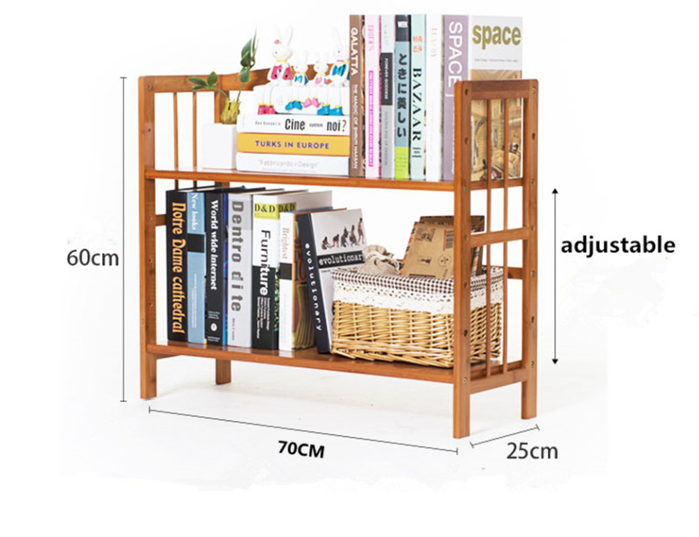 70CM Long DIY Student Desk Bookcase Bookshelf Bamboo Wood Desktop Multi  Function Wooden Self Storage Holder Home/Office Decor In Bookcases From  Furniture On ...