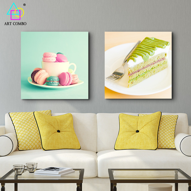 Modern Canvas Painting Tasty Cake Colorful Macaron Wall Art Picture ...