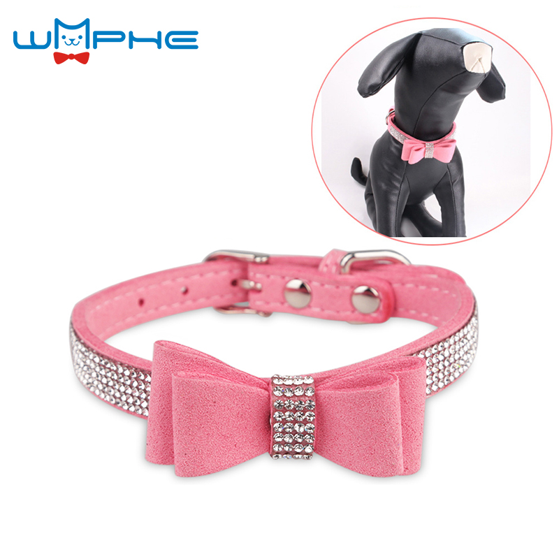 7 Colors Full Rhinestone Soft Seude Leather Dog Collar Bling Padded Bow Knot Puppy Cat Pet Collar For Small Medium Breeds XS S 2018 new autumn winter pet products dog clothes pets coats soft cotton dog hoodies clothing for puppy dogs 7 colors xs 2xl pd212