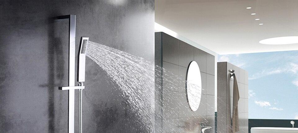 Ensemble de douche de luxe Robinets de baignoire Ensemble de douche de bain Une poign/ée en laiton massif dans un ensemble de douche noir Mitigeur de baignoire avec douche /à main