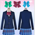 2017 New Japanese Anime Love Live Cosplay Costumes Halloween Party Lovelive School Uniform Jacket+Skirt + Bow Tie Free Shipping