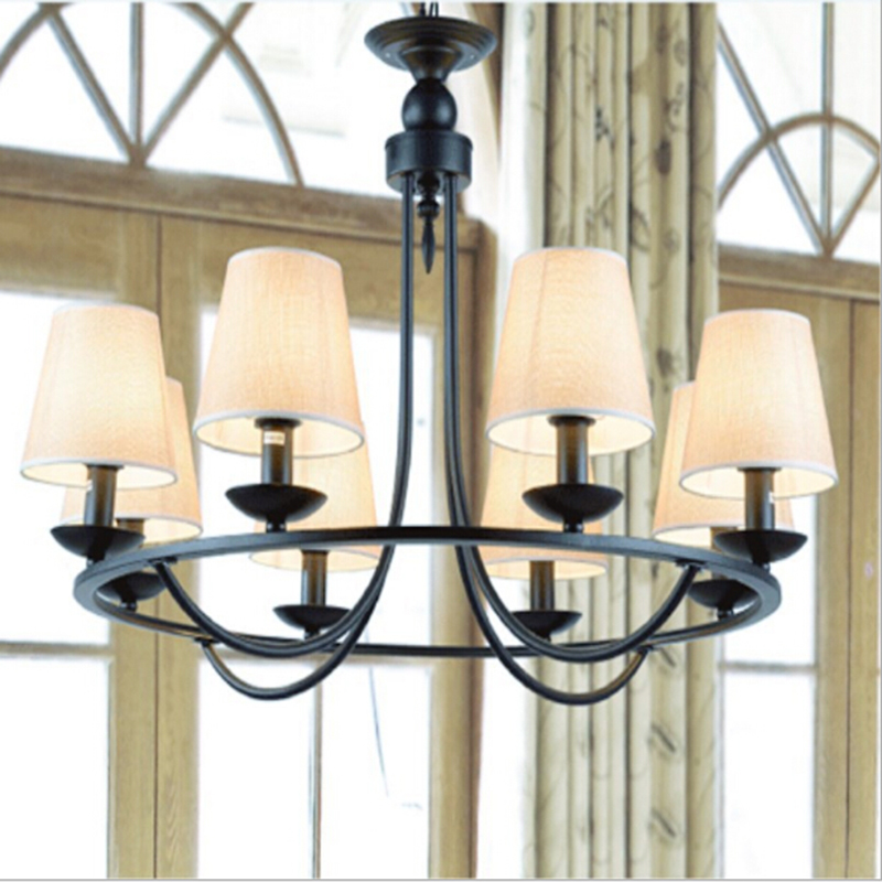 American Style Indoor metal Pendant Light Fabrics Lampshade wrought iron E14 lamp holder for living room bedroom dining room free shipping american style living room vintage crystal lamp personalized black wrought iron pendant lamp dia 74 h53cm