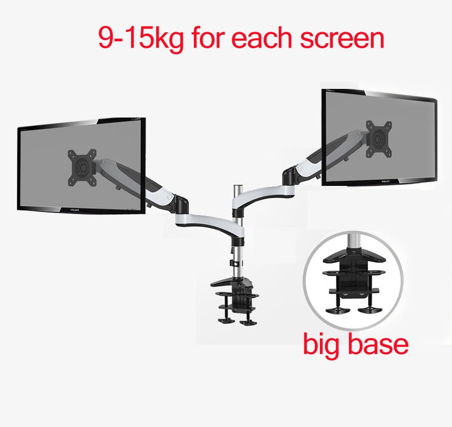 "27"" 9-15kg heavy gauge full motion air gas spring lcd tv table mount double monitor stand big base 400mm"