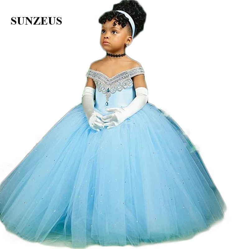 Princess Ball Gown Flower Girls Dresses Sweetheart Off Shoulder Blue Girls Pageant Party Dress Dazzling Beaded Sequins SF54