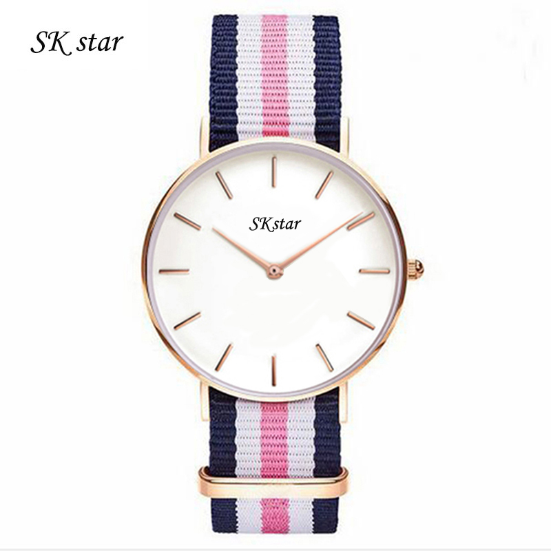 nylon watchband quartz watch lovers casual new fashion brand DW YBA thin gold silver dial men